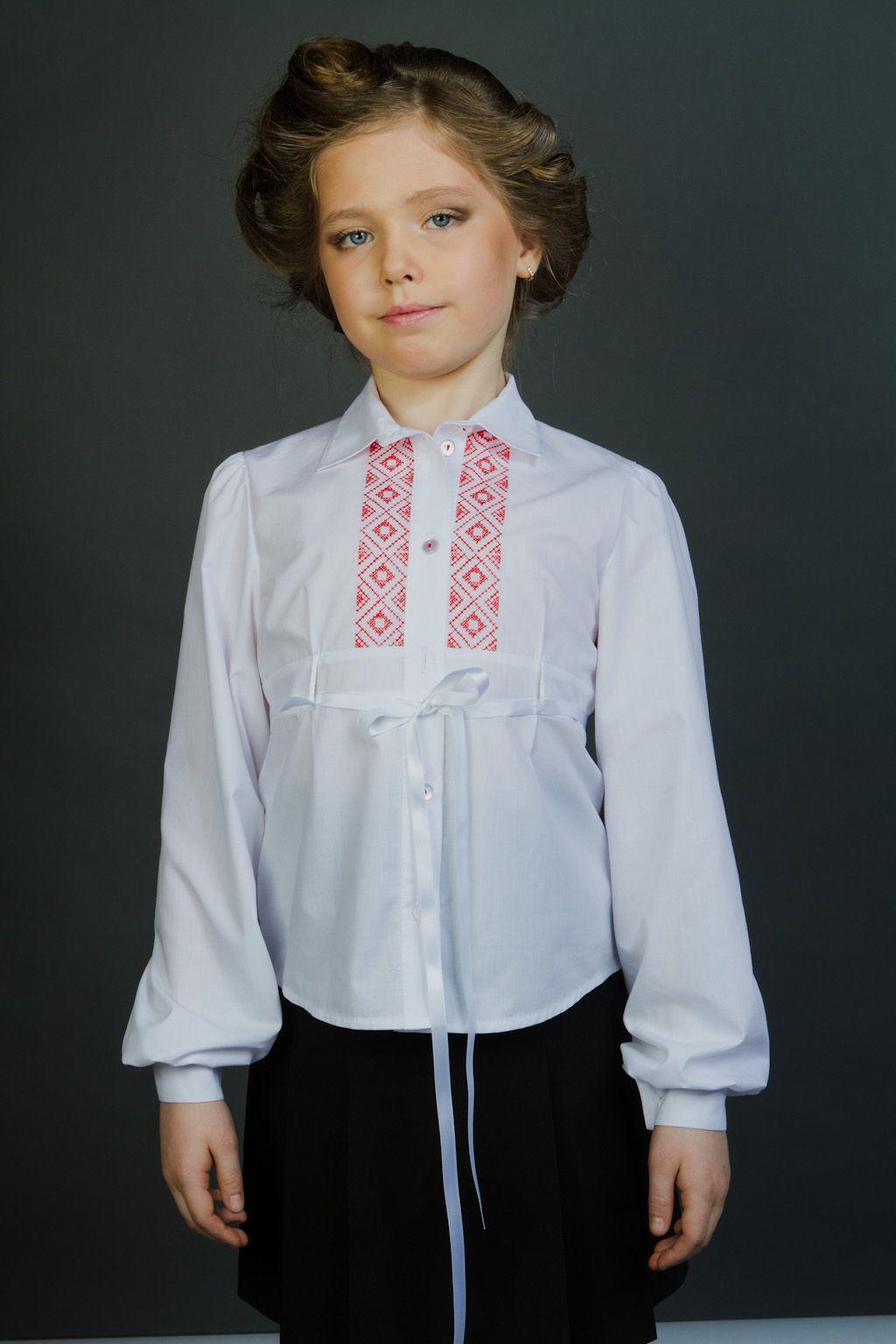Школьная блузка для девочки атлас 7